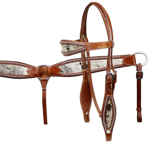Showman® Double Stitched Leather Headstall and Breast Collar Set