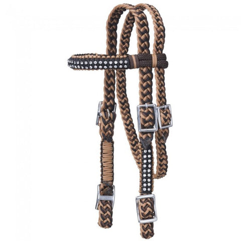 Braided Cord Mini Browband Headstall with Crystal Accents
