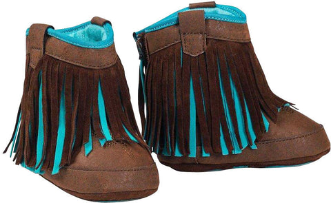 Baby Bucker Candace Brown & Turquoise Fringe Booties 4420002
