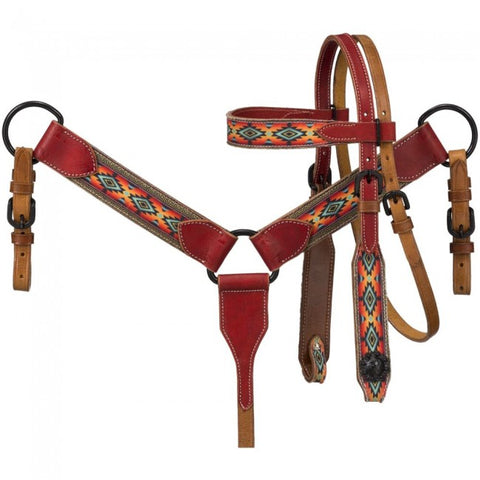 Miniature Printed Brow Headstall and Breast Collar Set 45-7999M