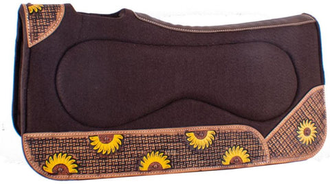"Showman ® 32"" x 31"" x 1"" Brown Built Up Felt Saddle Pad with Sunflowers"
