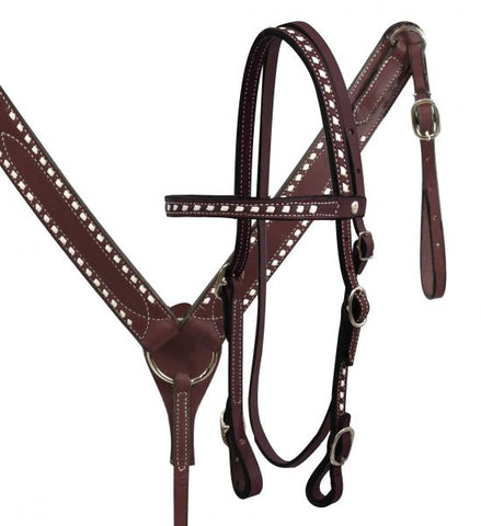 Leather Buck Stitched Headstall and Breast Collar Set - Made in USA
