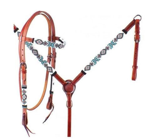 Showman ® Turquoise and Red Navajo Beaded Headstall and Breast Collar Set