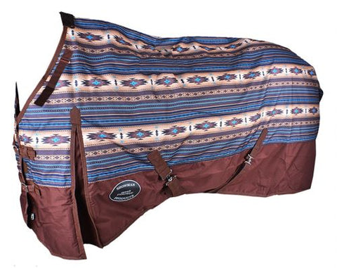 Waterproof and Breathable Showman™ Brown and Turquoise Southwest Print 1200 Denier Perfect Fit Turnout Blanket