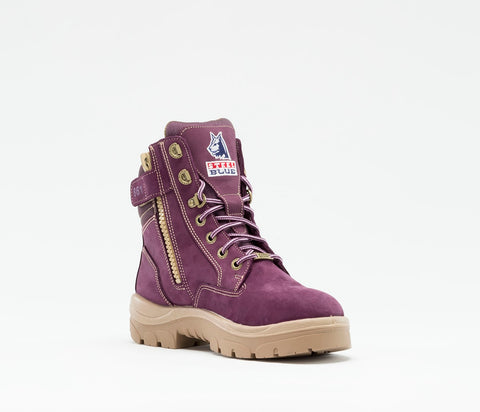Ladies: PR Midsole Work Boot Purple By Steel Blue -Southern Cross Zip