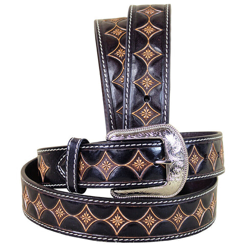 3D Flower Pattern Western Fashion Leather Belt