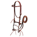 Latigo Leather Browband Bridle with Single Cheek Buckle, Pony