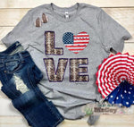 Ladies LOVE Tee - Grey - Made in USA