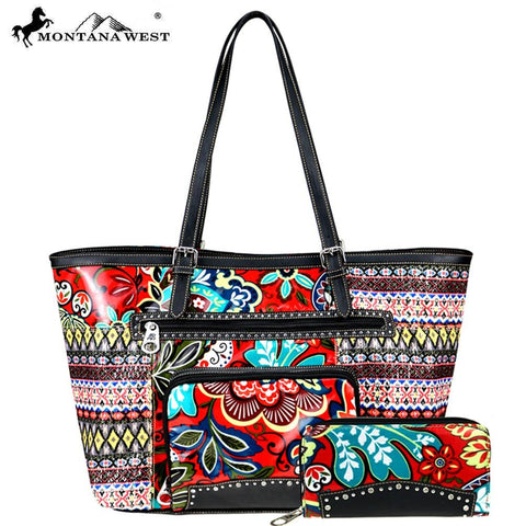 American Bling Floral Collection Tote and Wallet Set - Red