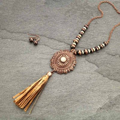 Western Concho & Cork Tassel Necklace Set