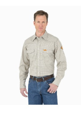 Wrangler Flame Resistant Lightweight Plaid Work Shirt - FR124MM