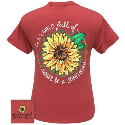 World Sunflower 2271 Heather Red Short Sleeve Tee