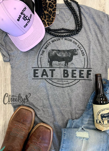 Eat Beef Unisex Tee on Gravel Road Grey by Cheekys