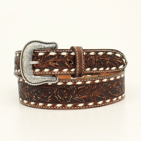 Men's Leather Tooled Brown Leather Belt by Nocona - Made in USA - N2300802