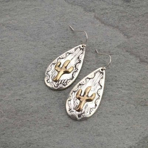 Western Cactus Fish Hook Earrings