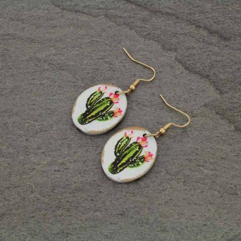 Cactus Wood Fish Hook Earrings