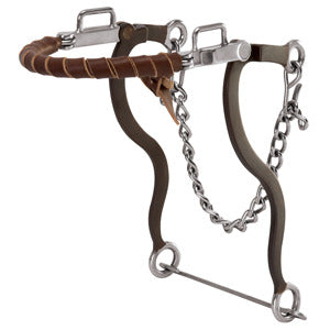 Weaver Hackamore with Brown Latigo Leather  Wrapped Noseband