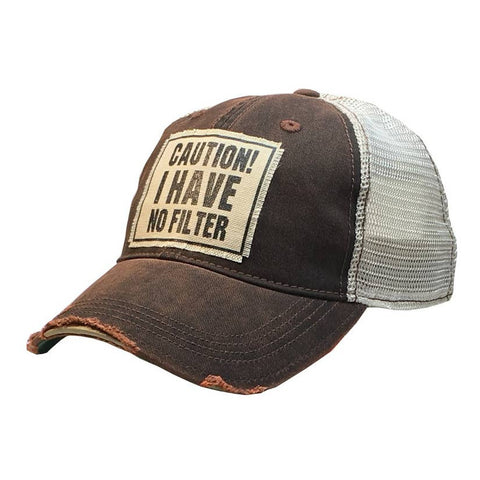 Caution! I Have No Filter Distressed Trucker Cap
