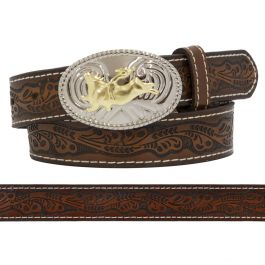 Nocona Boys Tooled Belt With Bull Rider Buckle