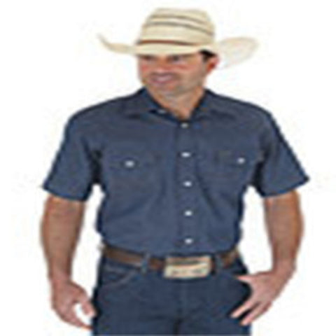 Cowboy Cut® Firm Finish Denim Short Sleeve Work Western Shirt - MS3127B