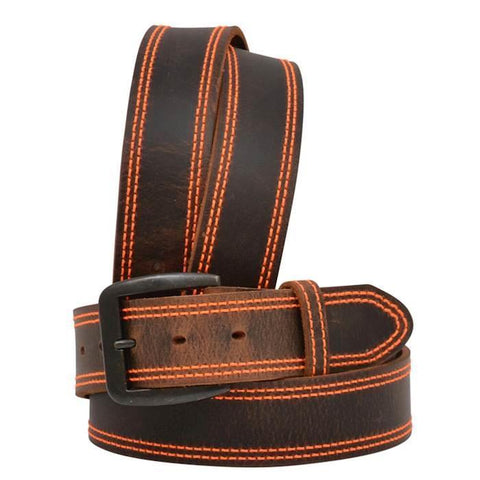 Men's Brown Leather Belt with Orange Stitching by 3D