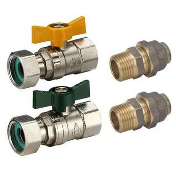 Instant Hot Water Valve Kit 20mm Loose Nut to 20mm Flared (Gas) 20mm Loose Nut to 15mm Flared (Water) - PlumbersHQ