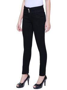 Dassler Slim-Fit Women's High Waist Stretchable Black Denim Jeans