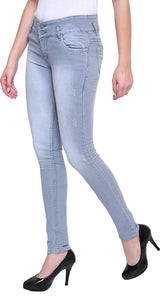 Dassler Slim-FIT Women's Grey Denim Jeans (Stretchable)