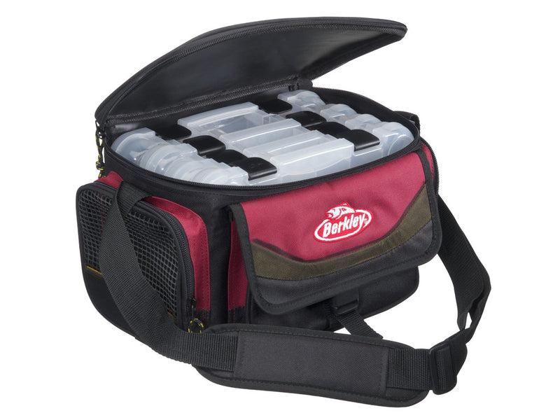 Berkley System Bag Red Black with 4 Bait Boxes