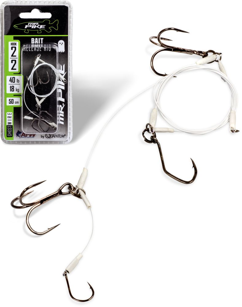 QUANTUM MR. PIKE GHOST TRACES BAIT-RELEASE-RIG WHITE 50CM 1PCS