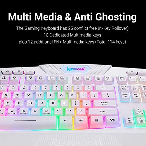 Redragon S101 Wired Gaming Keyboard & Mouse Combo, RGB Backlit Gaming Keyboard with Multimedia Keys, Wrist Rest & Red LED Gaming Mouse with 3200 DPI for Windows PC - Game Gear