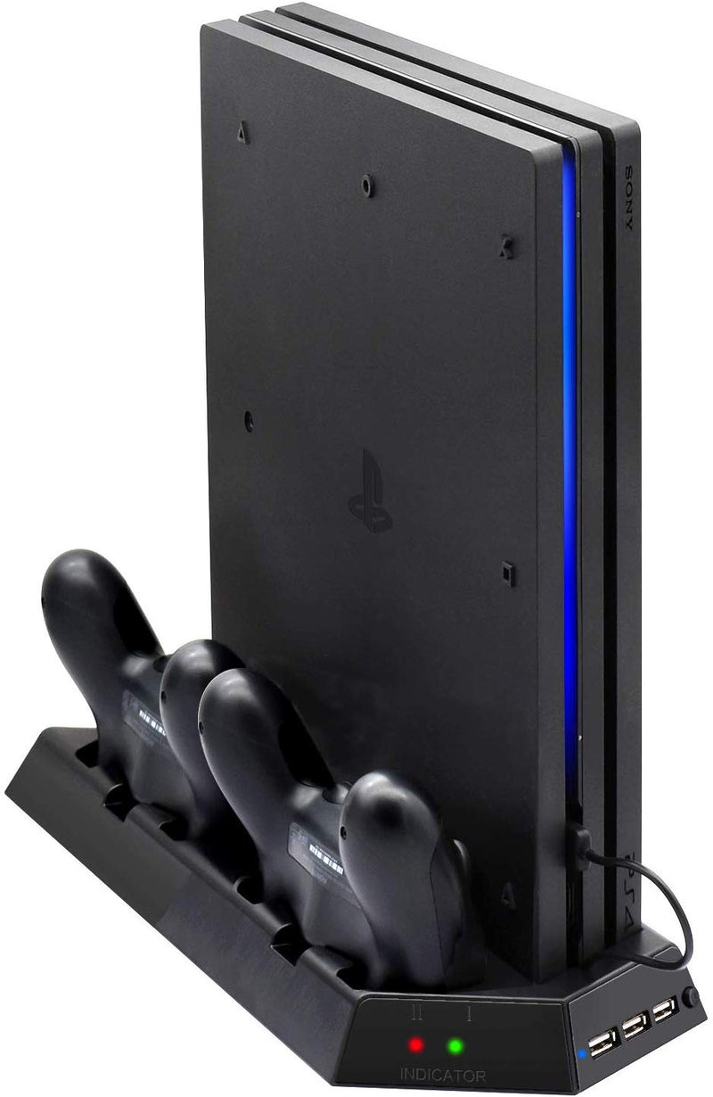 PS4 Pro Console Stand with Cooling Fans, Controller Charging Station for Sony Playstation 4 Pro DualShock 4 Controllers with LED Charging Indicator - Game Gear