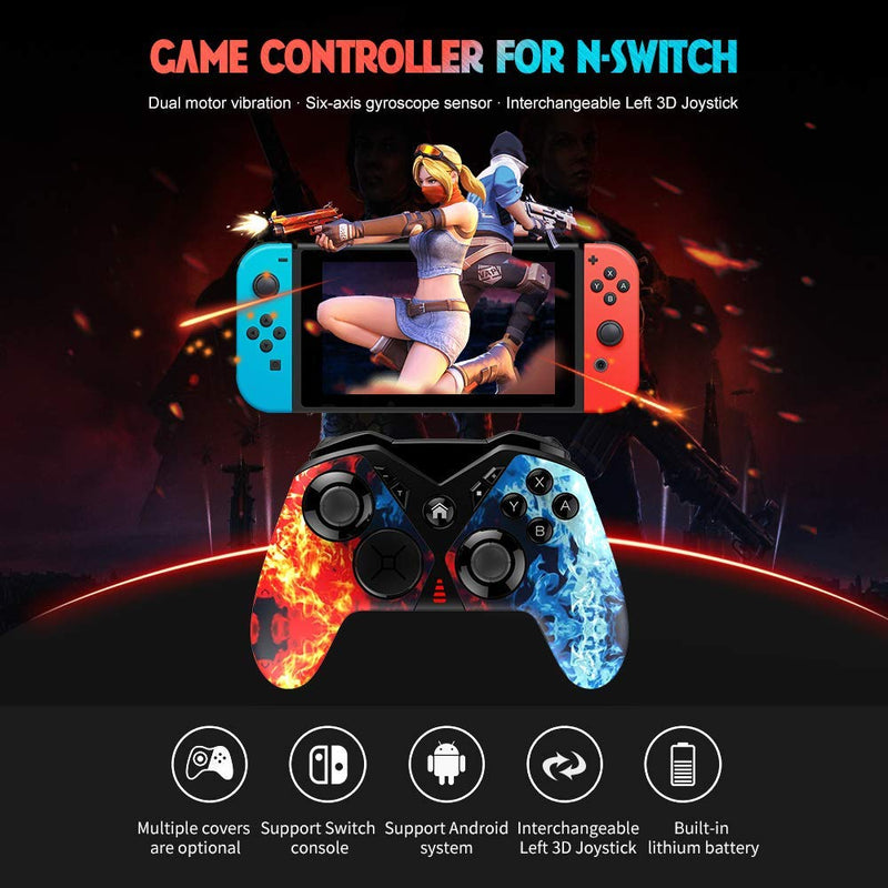 Pro Controller for Nintendo Switch, Wireless Gaming Controller w/ Six-axis Dual Vibration for Nintendo Switch/PC/Android Phone/Tablet/Smart TV - Game Gear