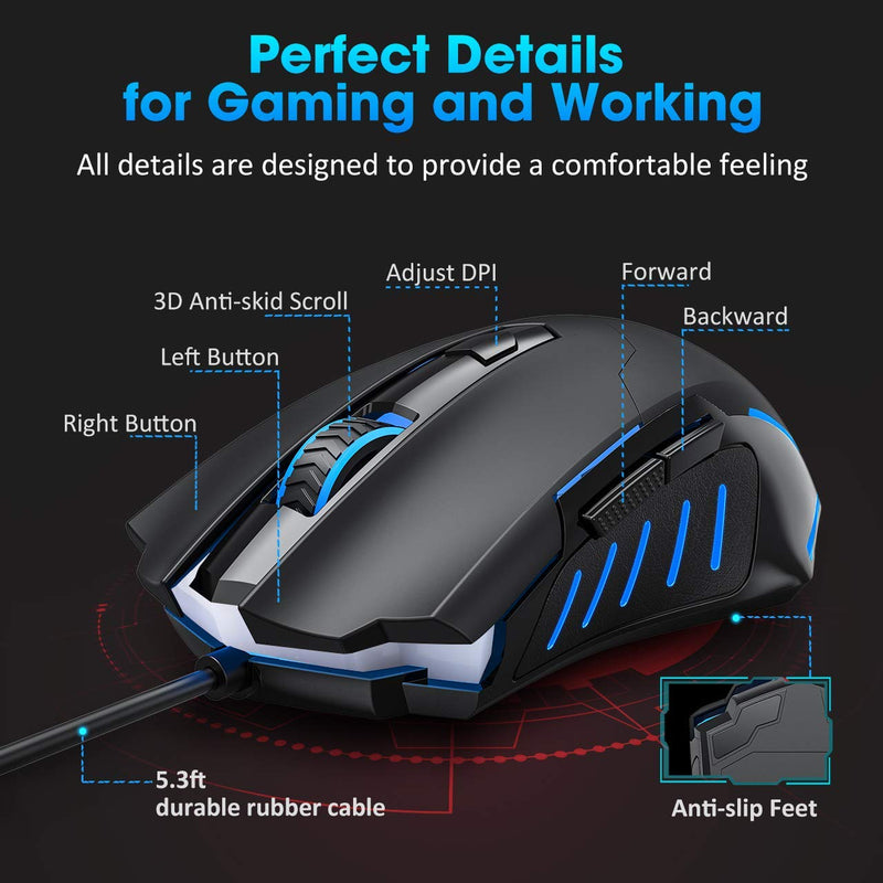 Gaming Mouse, Entry-level Ergonomic Optical Computer Mouse for Game & Daily, 1000-3200 DPI Adjustable USB Mouse Auto Breathing Wired Mouse for PC Desktop Windows 7/8/10/XP, Vista and Mac, Black - Game Gear