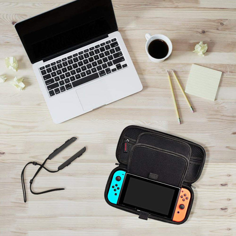 Carrying Case for Nintendo Switch Console, up to 20 Game Cartridges and Accessories - Protective Hard Shell Travel Pouch - Black - Game Gear