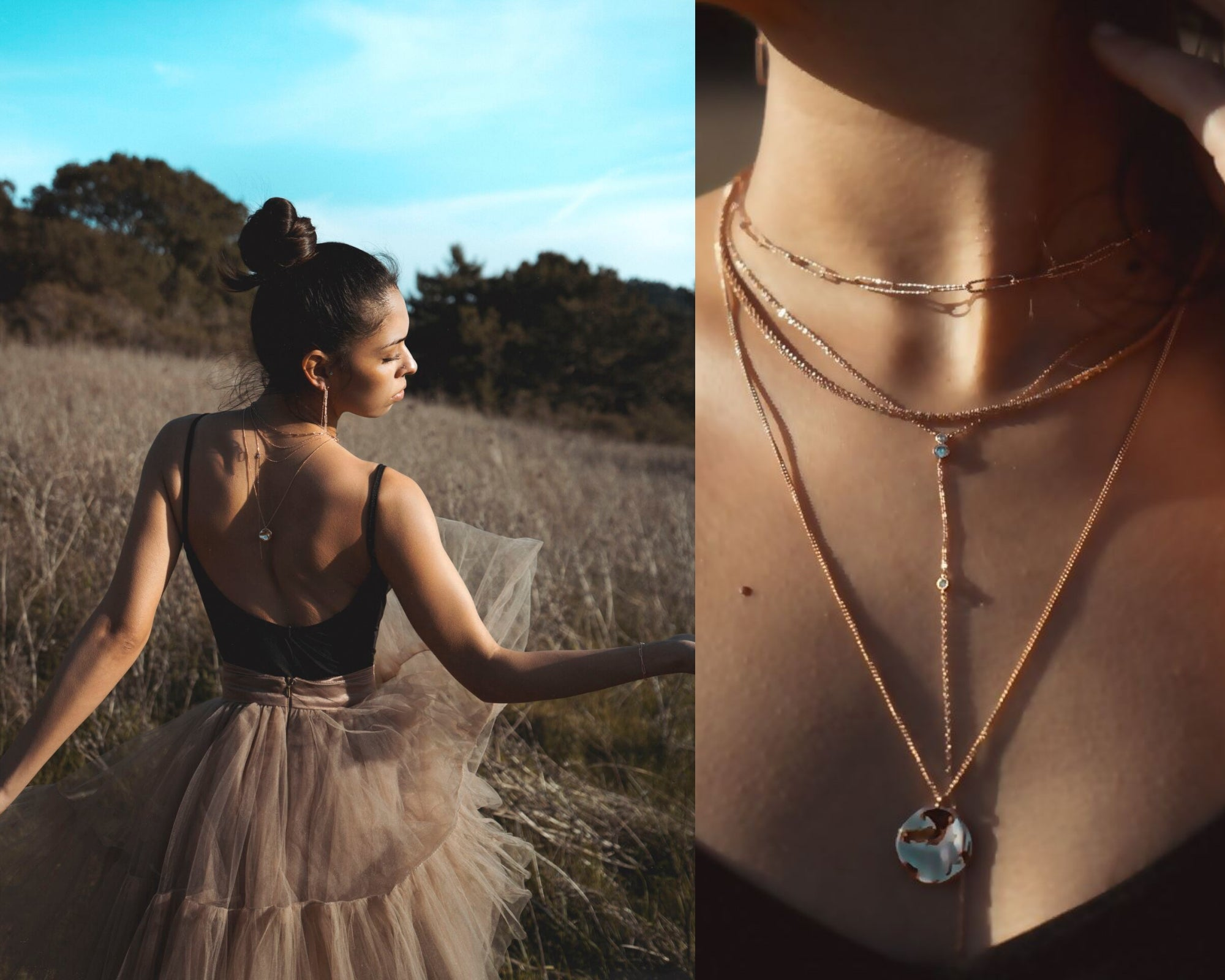rosegold necklaces ballet edit dalhae jewelry