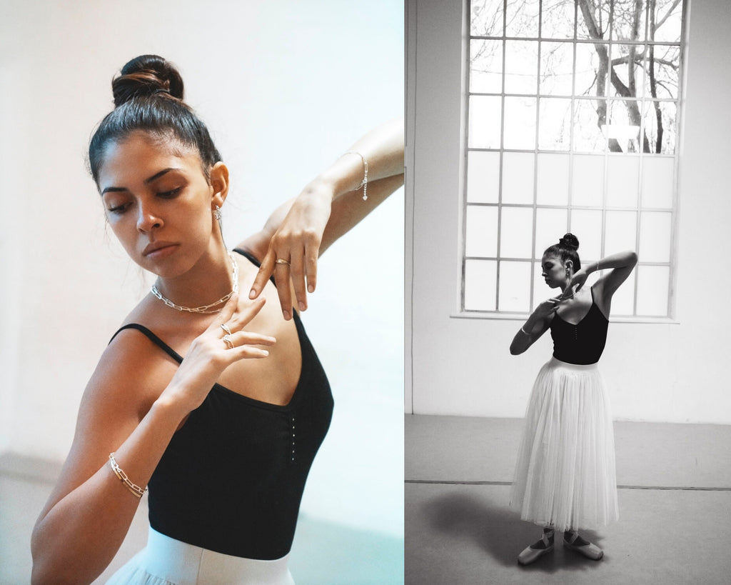 sterling silver link chain necklace bracelet ballet editorial lookbook dalhae jewelry