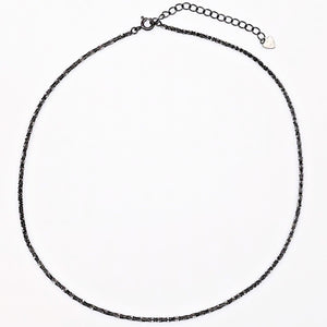 everyday minimal dainty jewelry the one choker chain necklace sterling silver dalhaejewelry timeless style capsule wardrobe staple minimalist fashion jet black dark silver choker