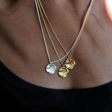 Load image into Gallery viewer, everyday minimal dainty jewelry gold vermeil dalhaejewelry timeless style capsule wardrobe staple minimalist fashion staple pendant necklace hammered moon smooth polish rosegold gold vermeil sterling silver