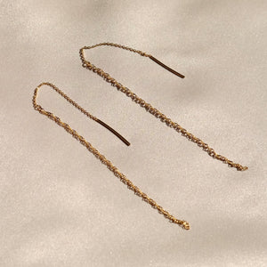 everyday minimal dainty jewelry dalhaejewelry timeless style capsule wardrobe staple minimalist fashion staple fine chain earring chain threader earring sterling silver gold vermeil
