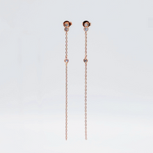 Load image into Gallery viewer, everyday minimal dainty jewelry dalhaejewelry timeless style capsule wardrobe staple minimalist fashion staple fine sterling silver gold vermeil diamond earrings romantic delicate rosegold diamond drop earrings