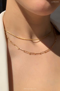 everyday minimal dainty jewelry gold vermeil dalhaejewelry timeless style capsule wardrobe staple minimalist fashion staple diamond cut link chain statement necklace @silkonme