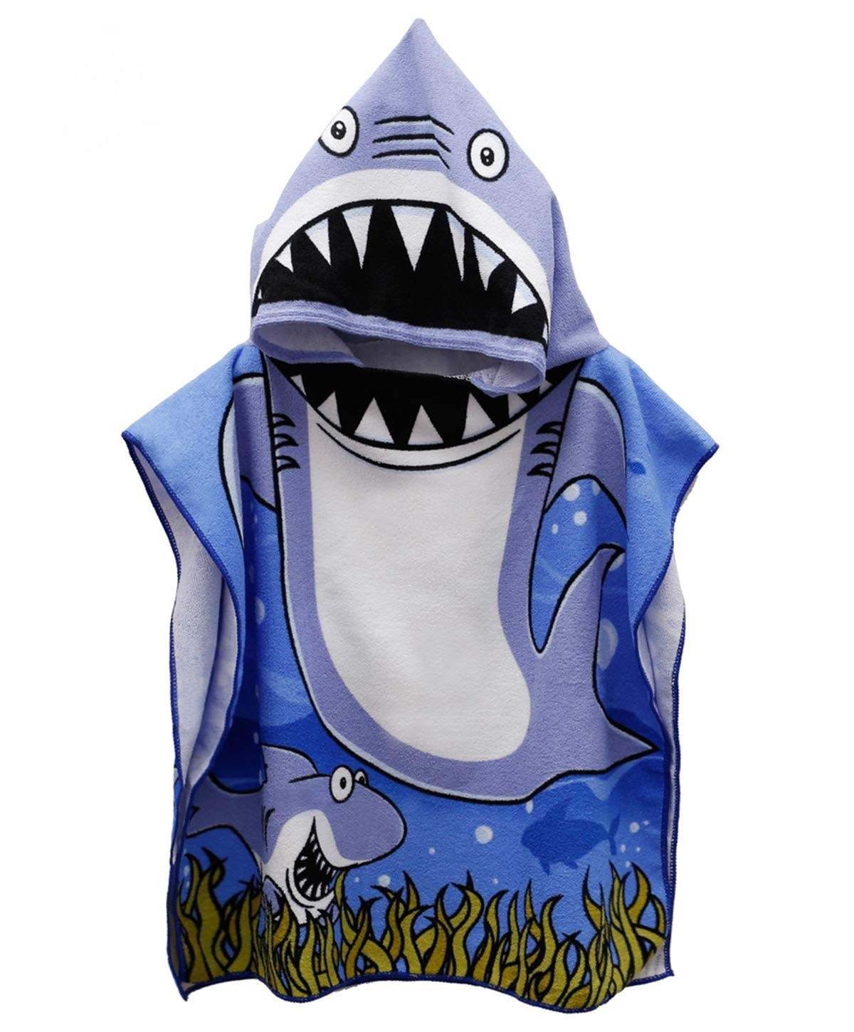 Kids Hooded Beach Bath Towel Shark Printed Soft Swim Pool Coverup Poncho Cape Boys Kids Children Bath Robe#15