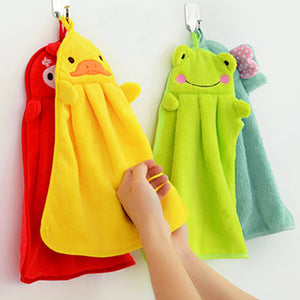 Baby Soft Plush Bath Towel Baby Nursery Hand Towel Cartoon Animal Wipe Hanging Bathing Towel For Children Bathroom Kitchen
