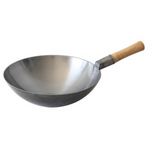 "Carbon Steel Mandarin Wok with Wooden Handle (14""-17"" Dia.)"