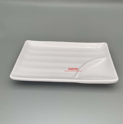 "White Melamine Appetizer Plate with Sauce Compartment (8"" x 5"")"