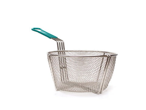 Stainless Steel Culinary Basket with Plastic Green Handle (24 Diameter)