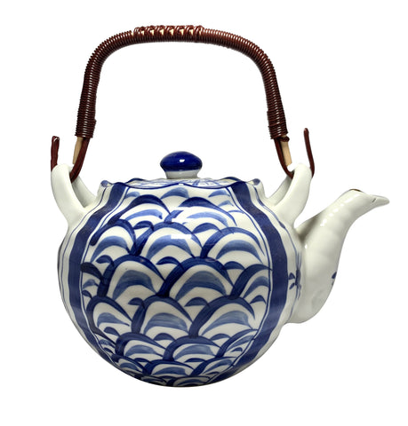 Heritage Ceramic Duo Patterned Waves/Flowers Teapot