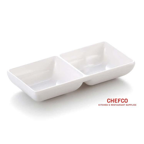 "Melamine Sauce Dish with Two Compartments (6"" x 3"")"