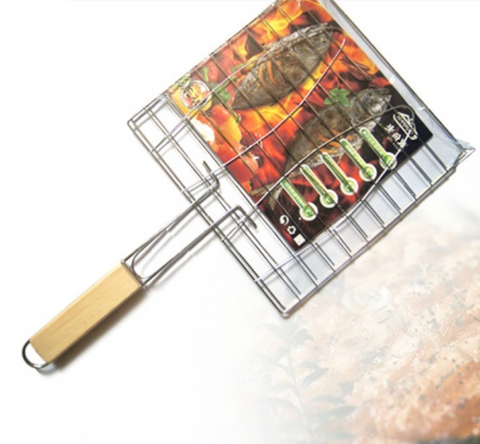 Handheld Stainless Steel BBQ Grill Net Basket
